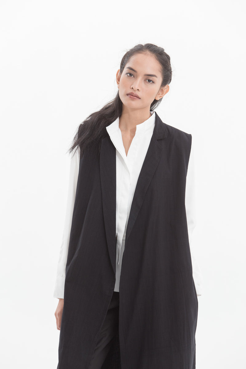 Lurik Long Oversized Vest Black