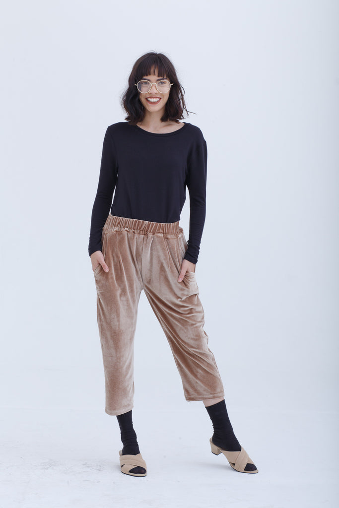 Last Piece — Velvet Ochre Pablo Pull-Up Pants
