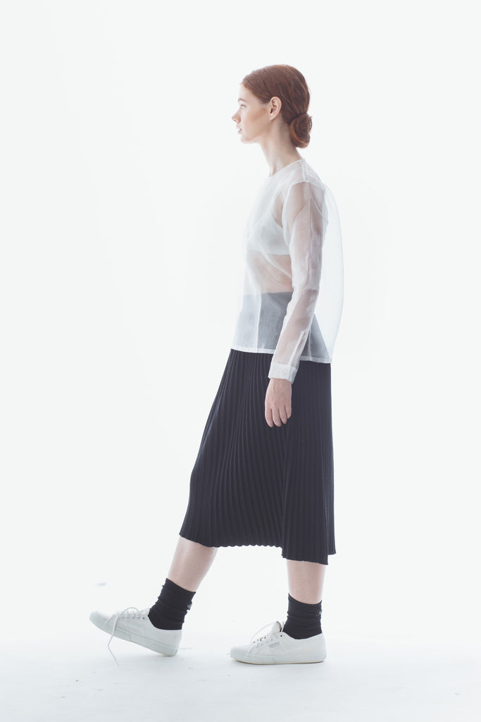 Midi Knit Pleats Skirt
