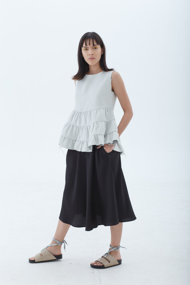 Stria White Sleeveless Top