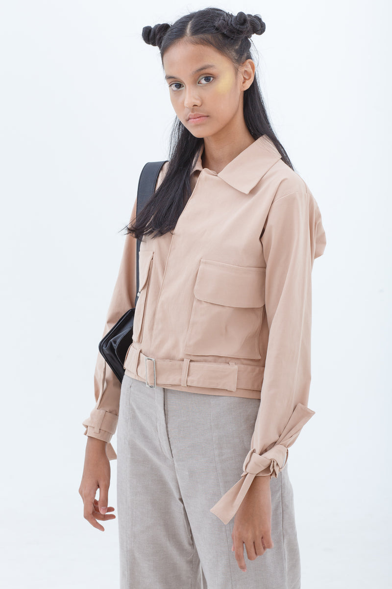Chalk Pink Crop Trench Jacket