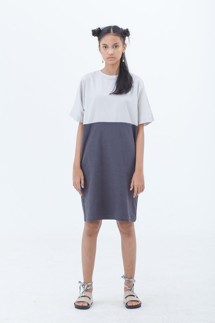 Grey Analog Two Tone Dress
