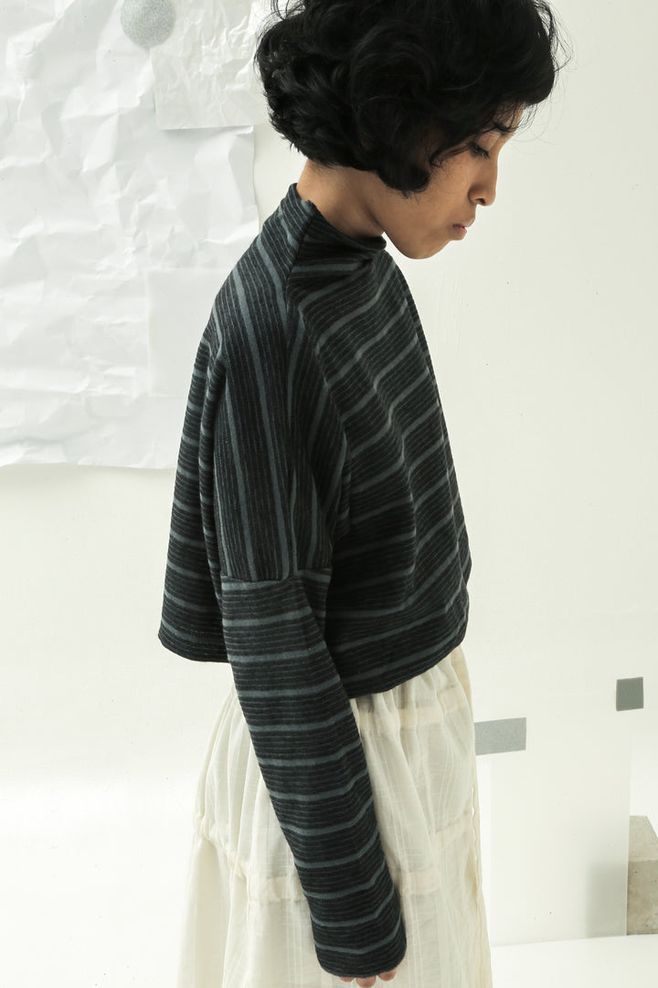 Muka Dua Crop Sweater in Black & Grey Stripes
