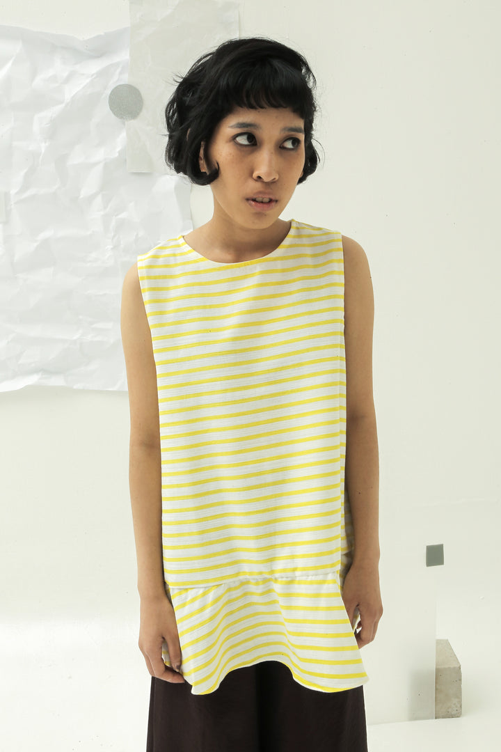 Selayang Sleeveless Top in Yellow & White Stripes