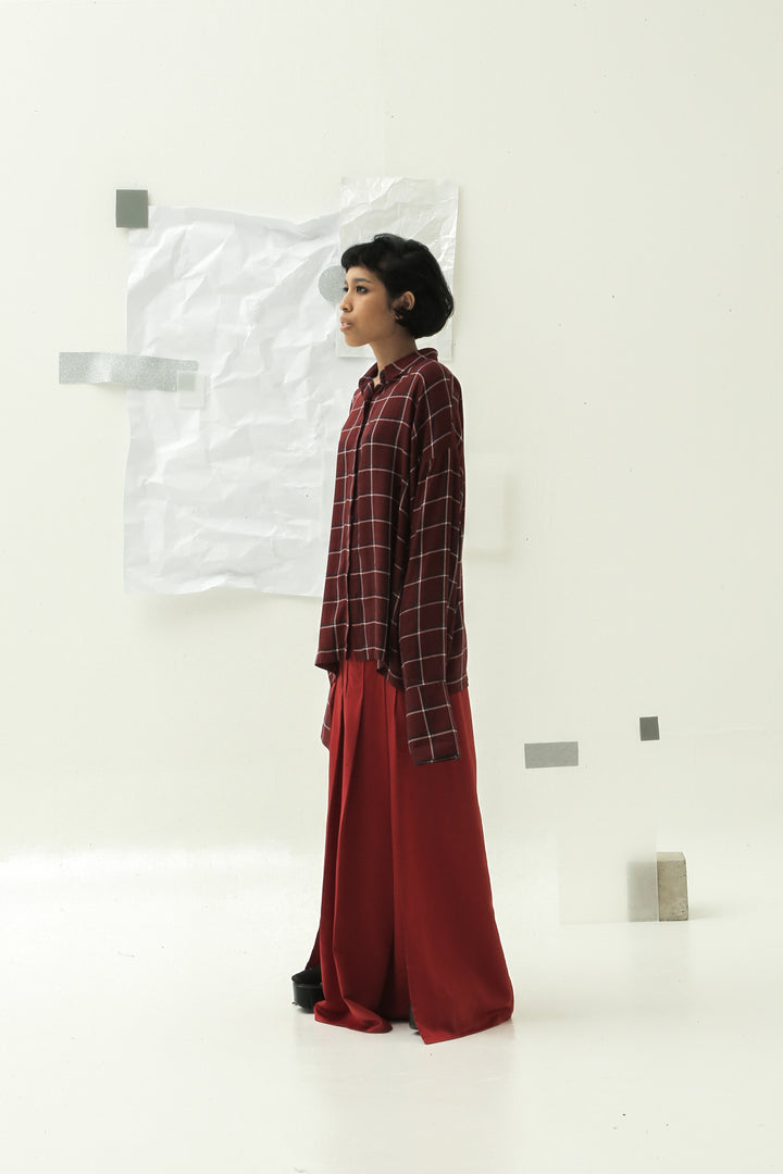 Lintang Long Sleeve Shirt in Red Checks