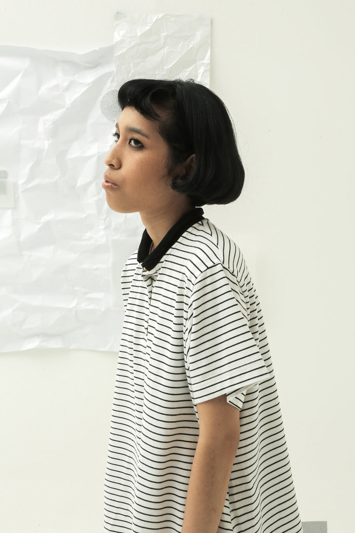 Polo T-Shirt in Black & White Stripes