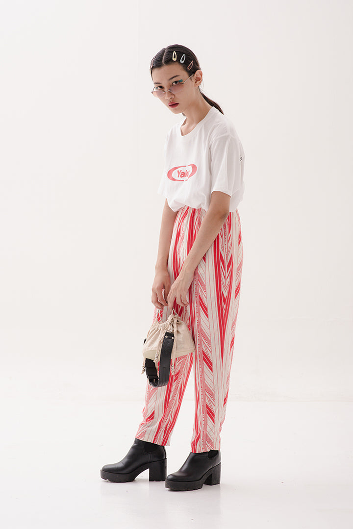 Bobo Pull Up Pants in Red & White Stripes