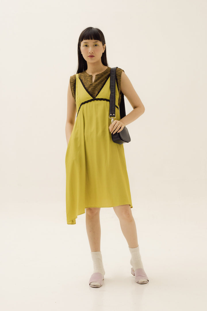 Asmara Slip Dress in Acid Yellow