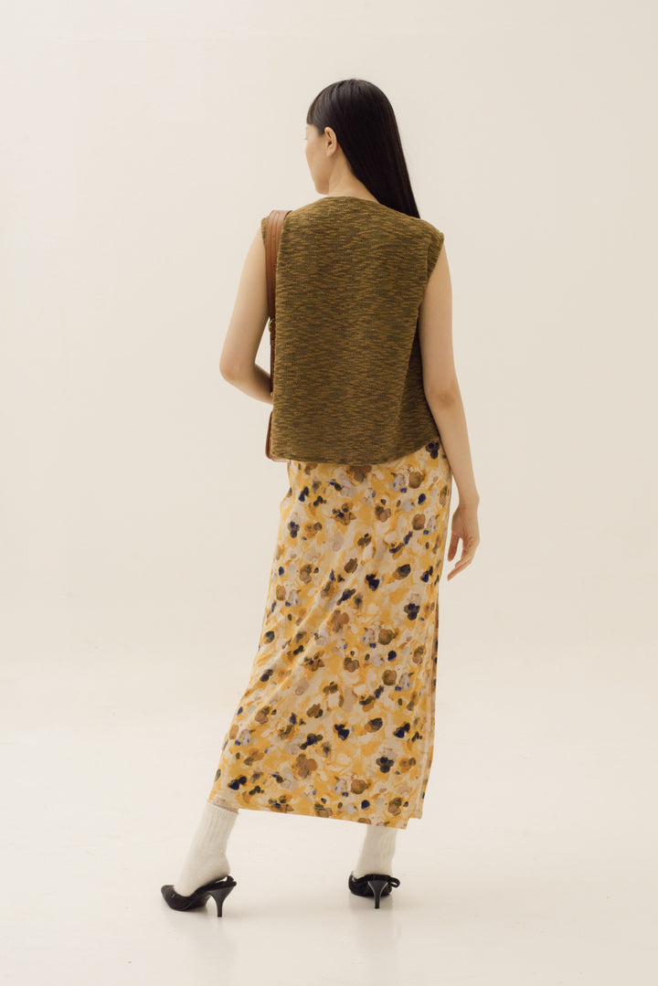 Jenjang Maxi Skirt in Abstract Washed Yellow