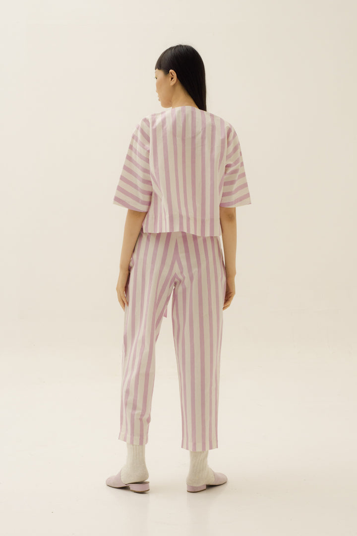 Pocket Front Tie Pants in Candy Pink Stripes
