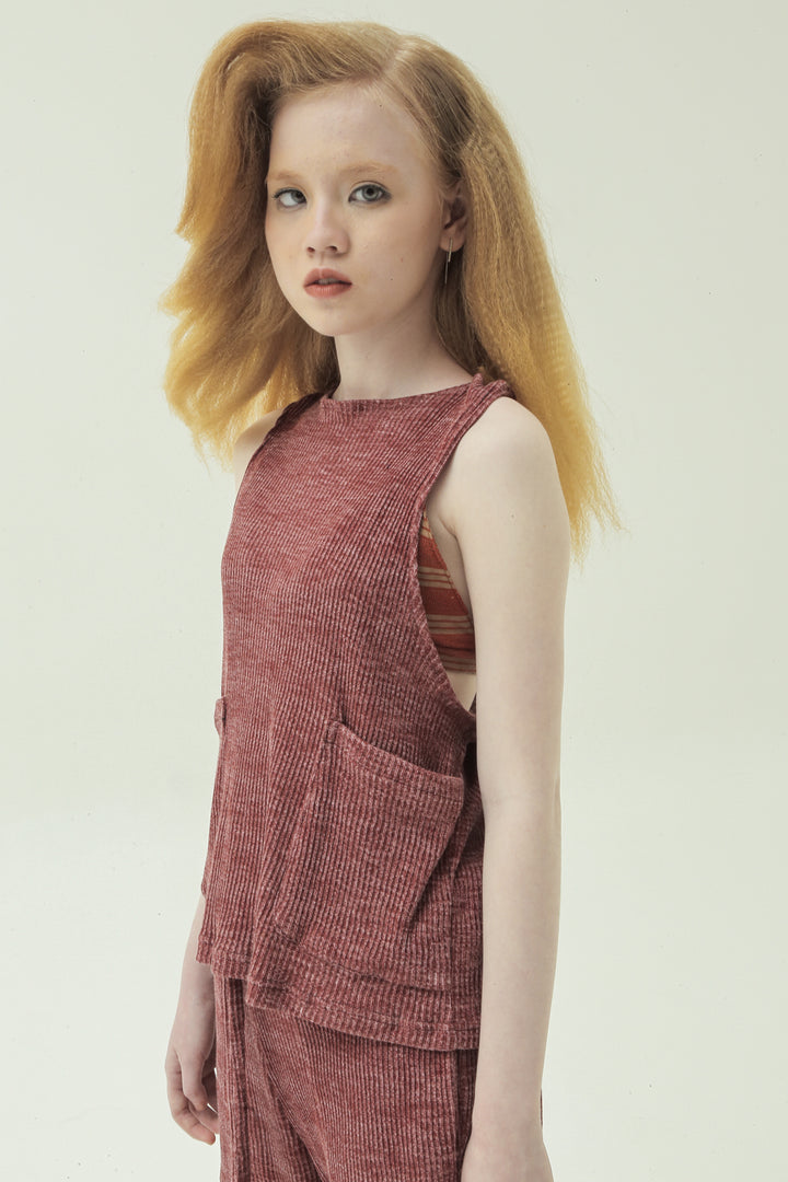 Simpul Sleeveless Top in Washed Red