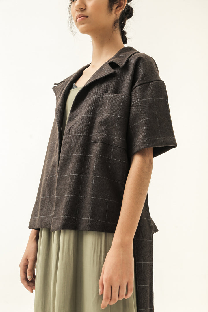 Purata Short Sleeve Jacket in Dark Brown Checks