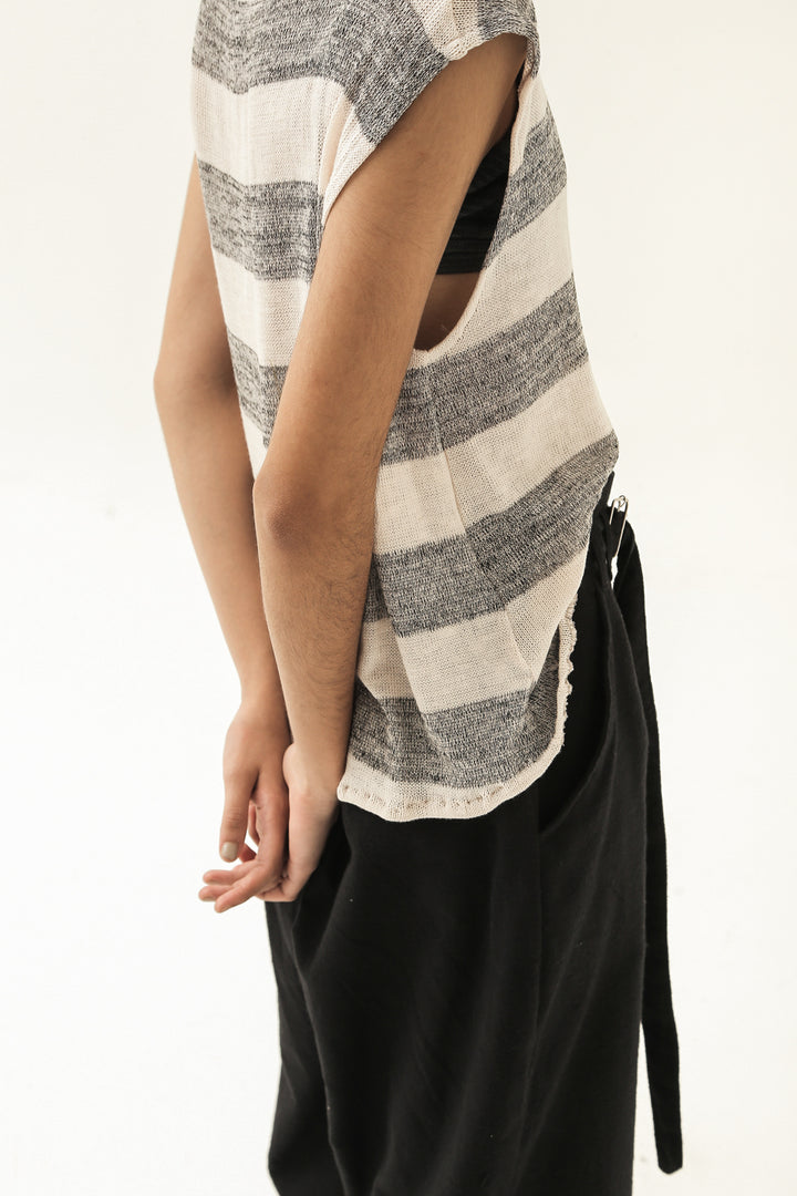 Ladang Sleeveless Top in Light Pink / Grey Stripes