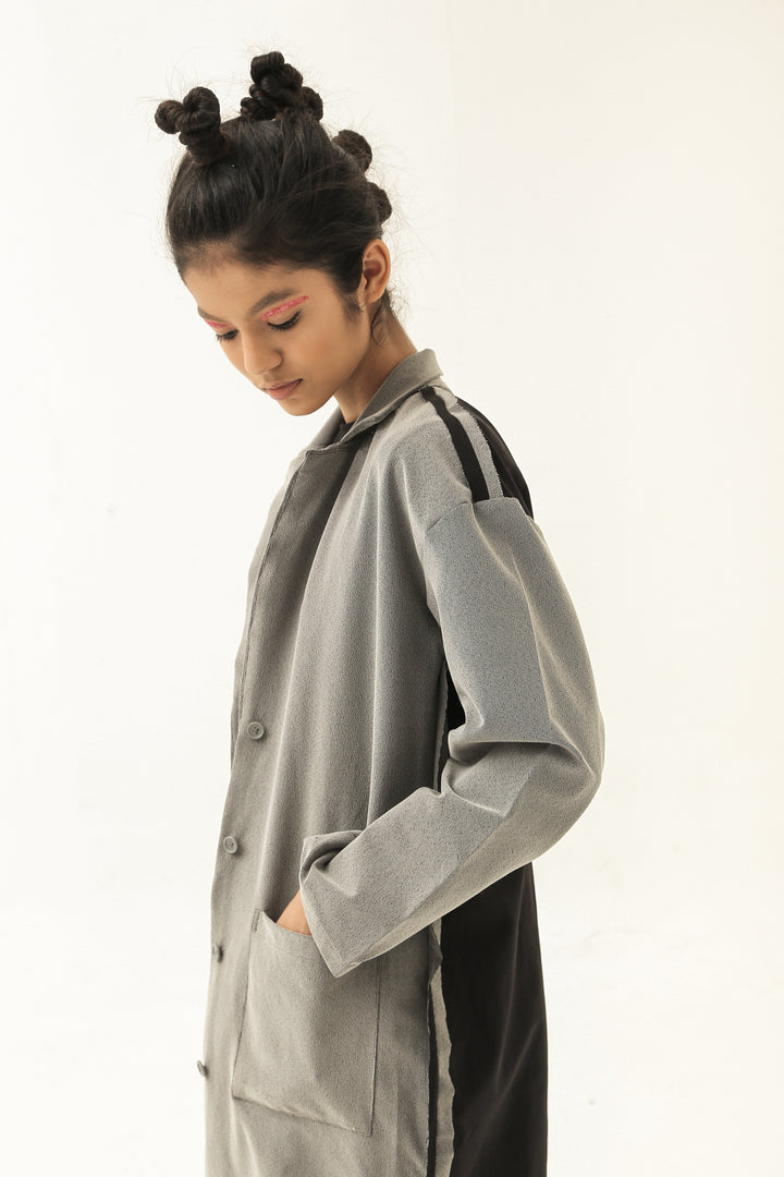 Long Long Coat in Grey / Black