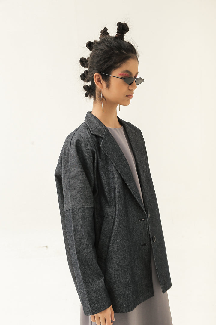 Tegap Oversized Jacket in Blue Denim