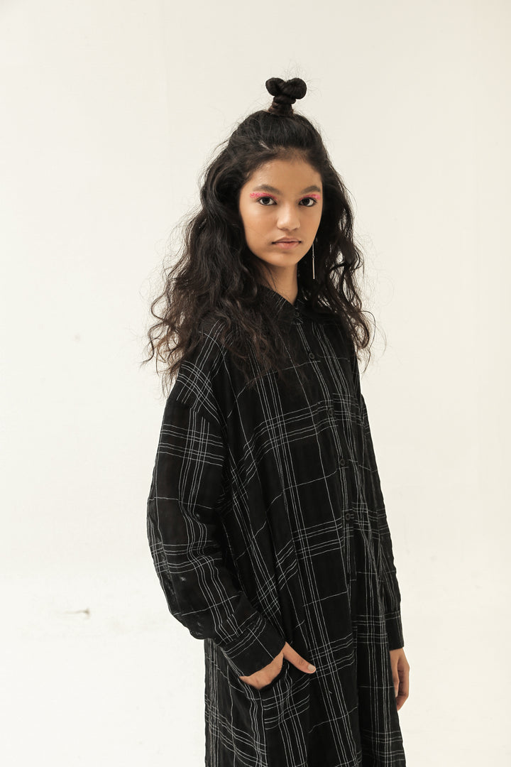 Senja Long Overlay Shirt in Black