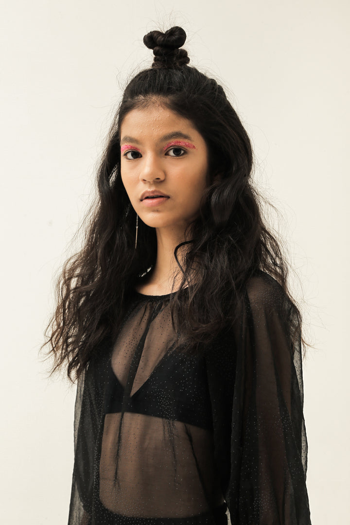 Apa Adanya Top in Dotted Sheer Black