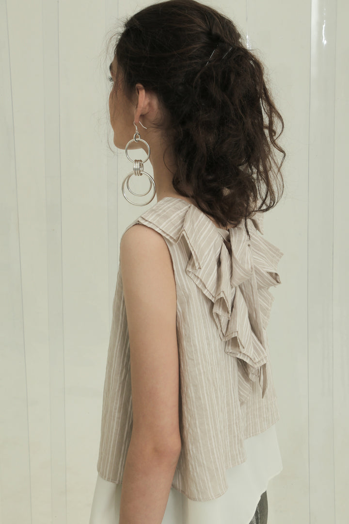 Seni Ruffle Sleeveless Top in Beige