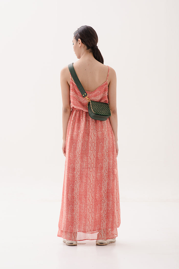 Nona Tank Dress in Paisley Red