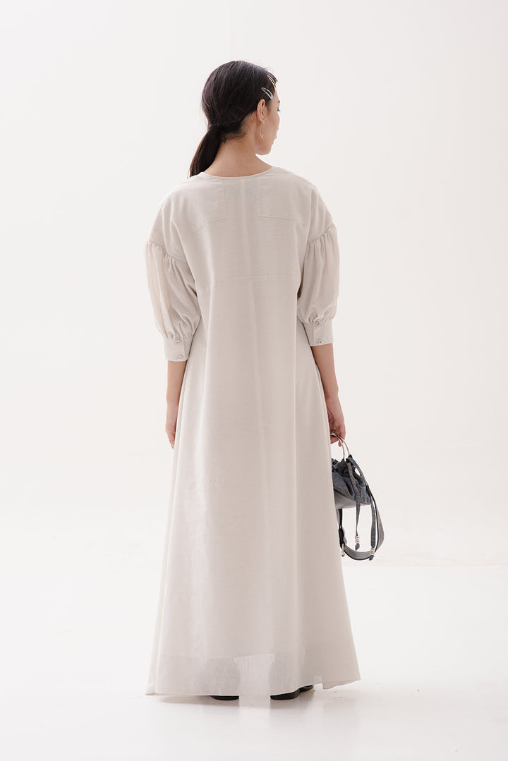 Madah Maxi Dress in Organic White