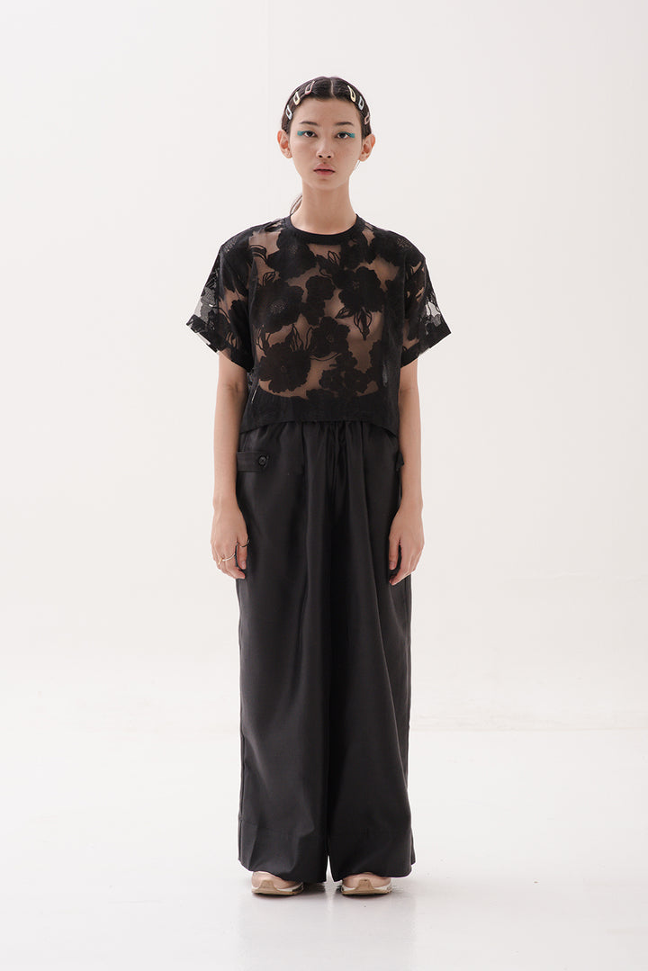 Kerawang Top in Sheer Black Flower