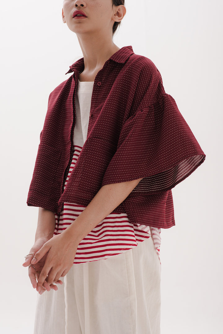 Ruffle Sleeve Outer in Burgundy with White Dots