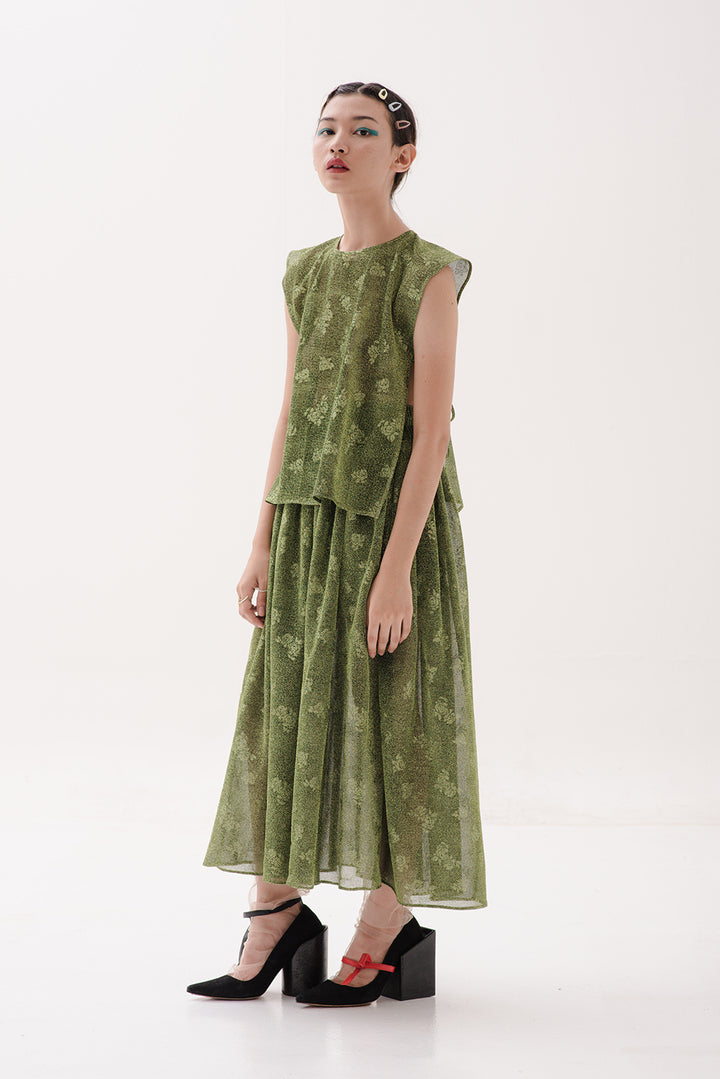Jorji Sleeveless Apron in Glitter Green