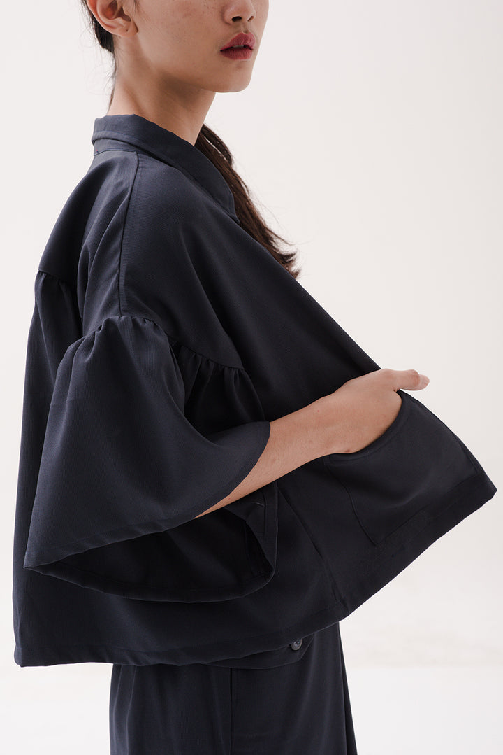 Ruffle Sleeve Outer in Dark Navy