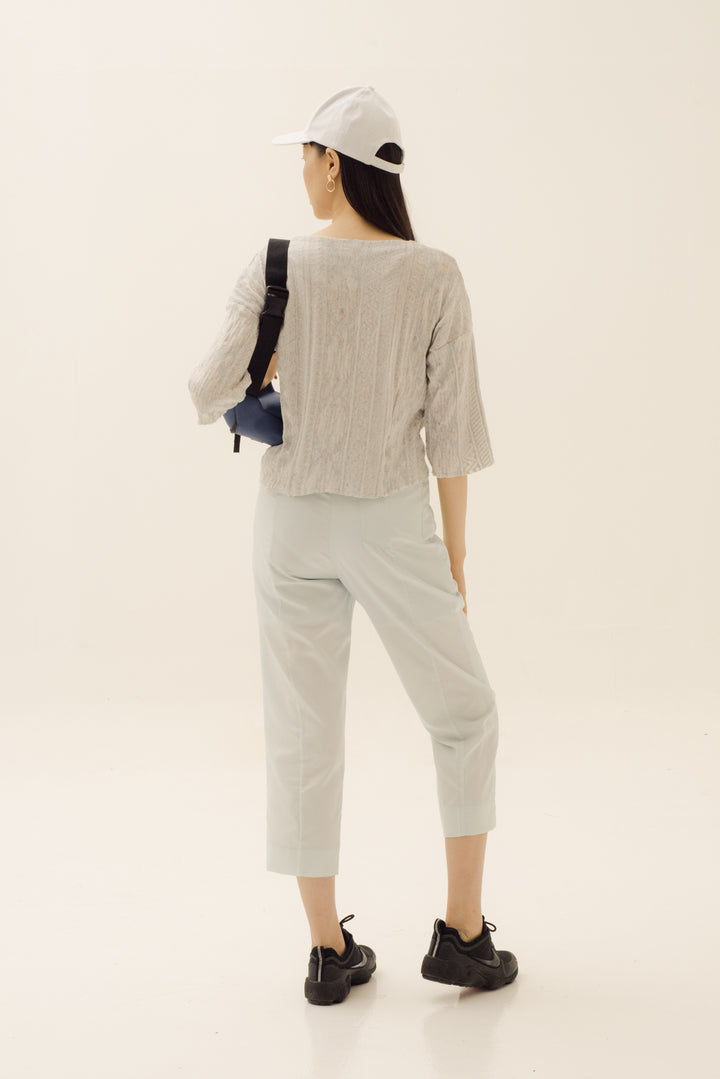 Kupnat Crop Top in Sheer Light Grey