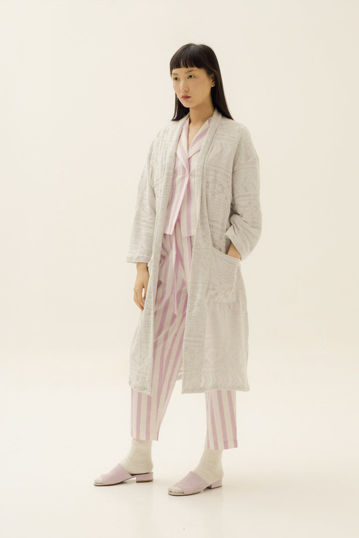 Pablo Long Coat in Sheer Light Grey