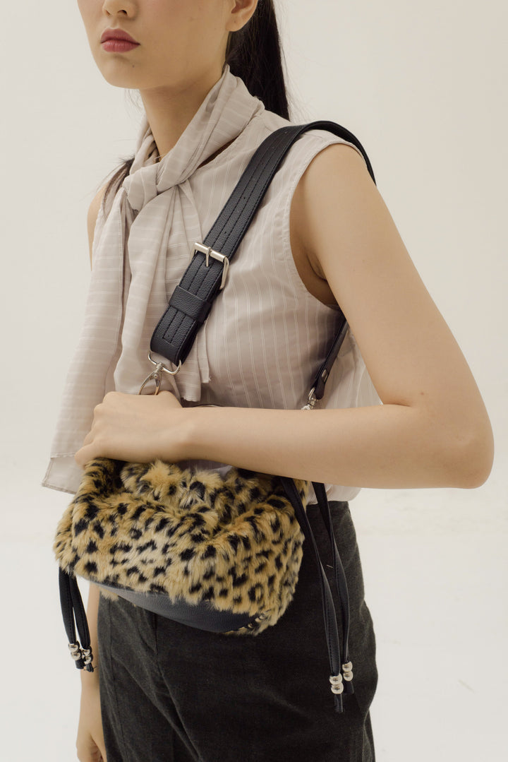 Mini Sinaran Bag in Leopard Print Fur