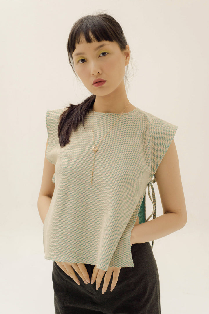 Jorji Sleeveless Apron in Beige On Tosca Blue