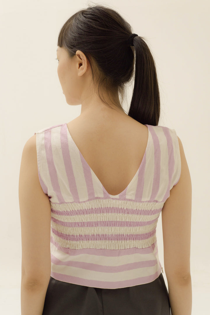 Deep V-Neck Crop Top in Candy Pink Stripes