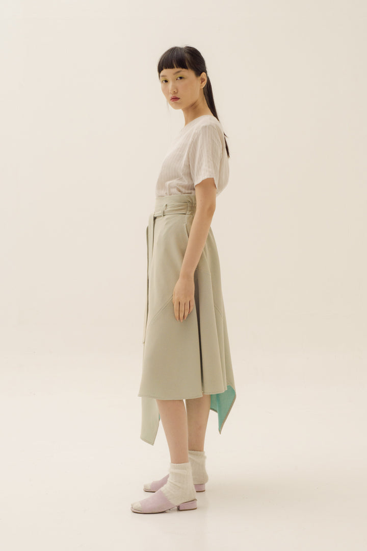 Suasana Catalyst Skirt in Beige On Tosca Blue