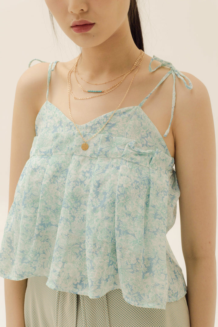 Kancil Camisole in Summer Green Flower Print