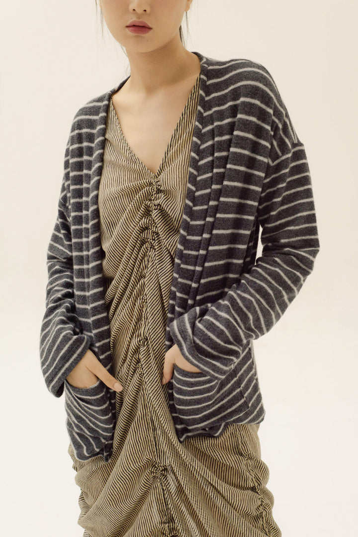 Esensial Unisex Cardigan in Dark Grey Stripes