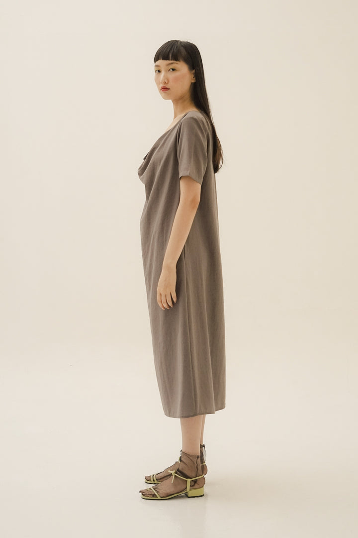Putar Short Sleeve Dress in Stone