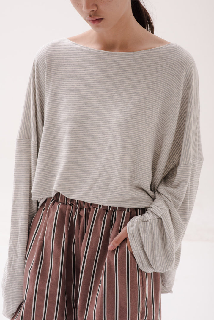 Busan Sweater in Light Grey/White Stripes