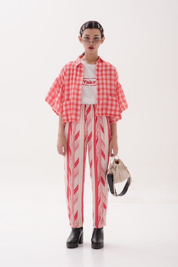 f5b914fb651d88 Ruffle Sleeve Outer in Red   White Checks