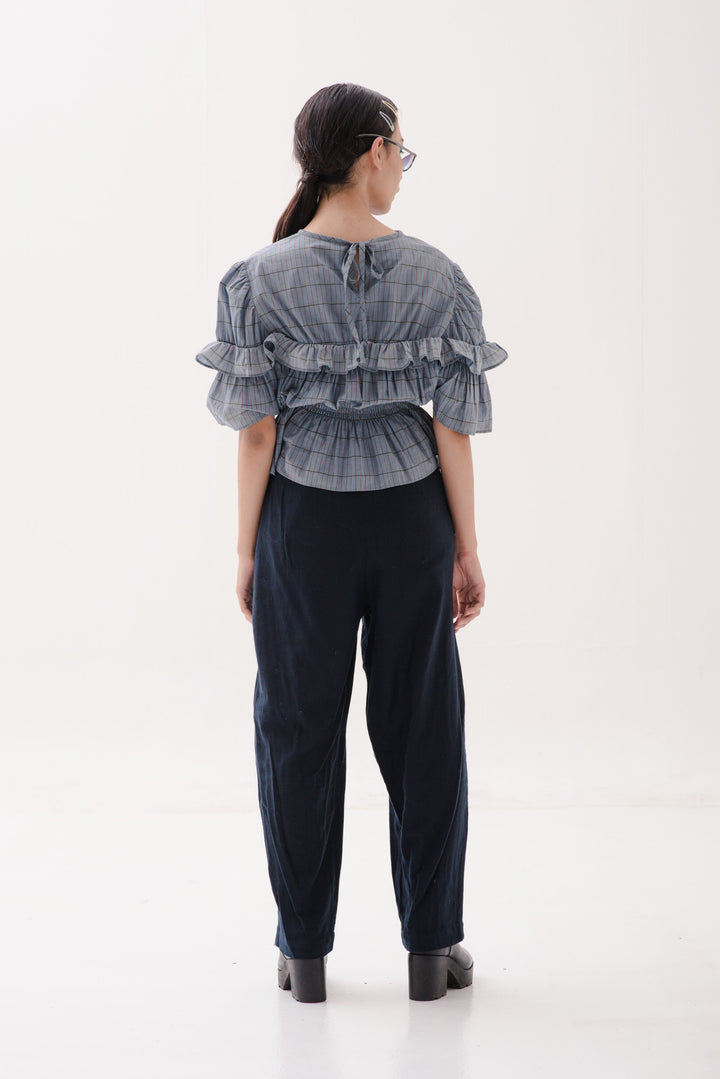 Terikat Ruffle Blouse in Blue