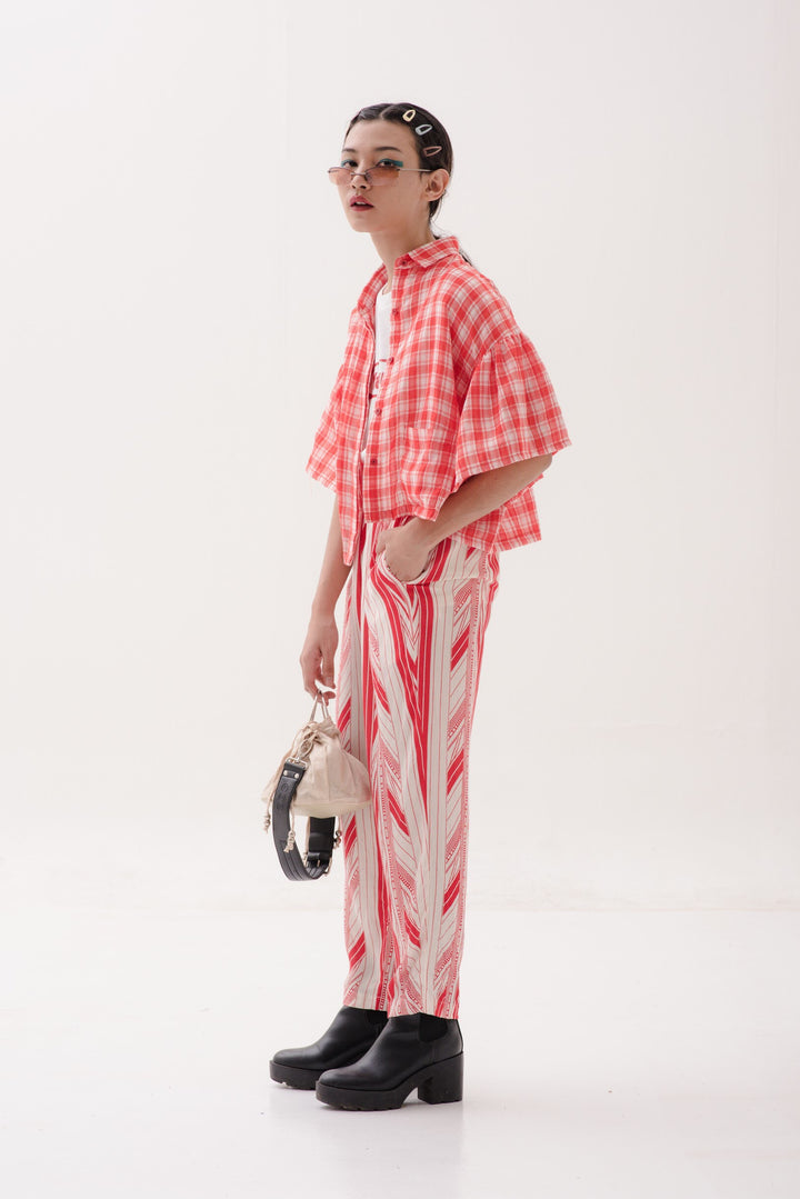 Ruffle Sleeve Outer in Red & White Checks