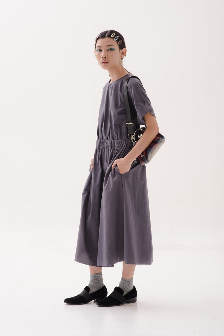 Dayang Dress in Black Stripes on Grey