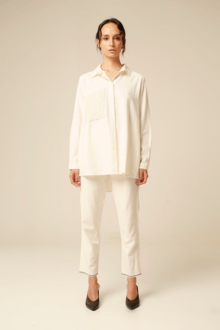 Long Sleeve Shirt With Pintucked Chest Pocket in Off White