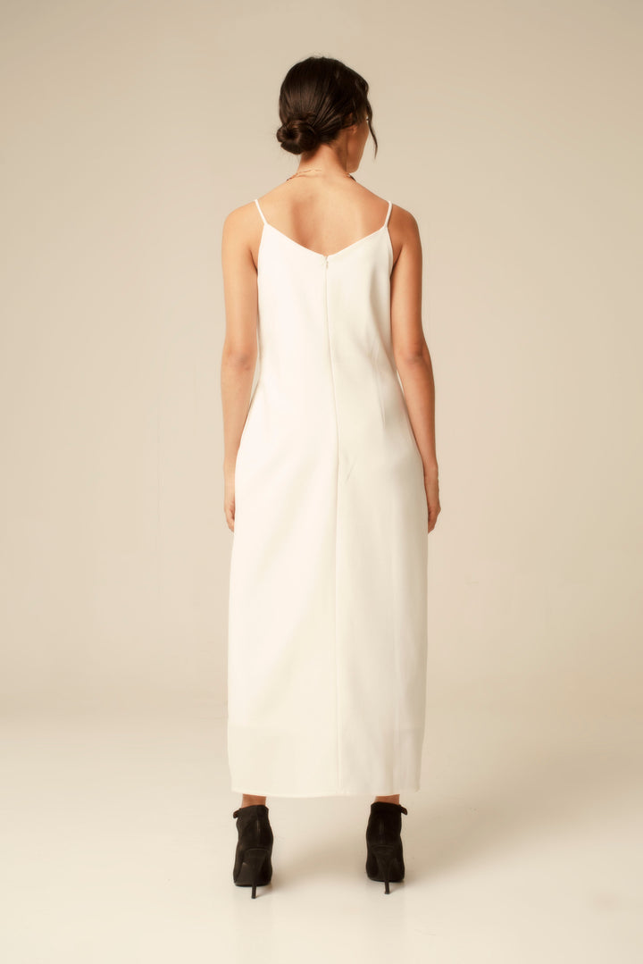 Evening V-Neck Maxi Dress in Off White