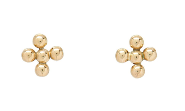 Classic Beaded Signature Cross Stud - 3mm Bead Gold