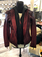 Women's Oxred Hooded Leather Jacket