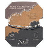 Delicate Stone Bracelet/Necklace - Iolite & Sunstone - Stone of Synergy