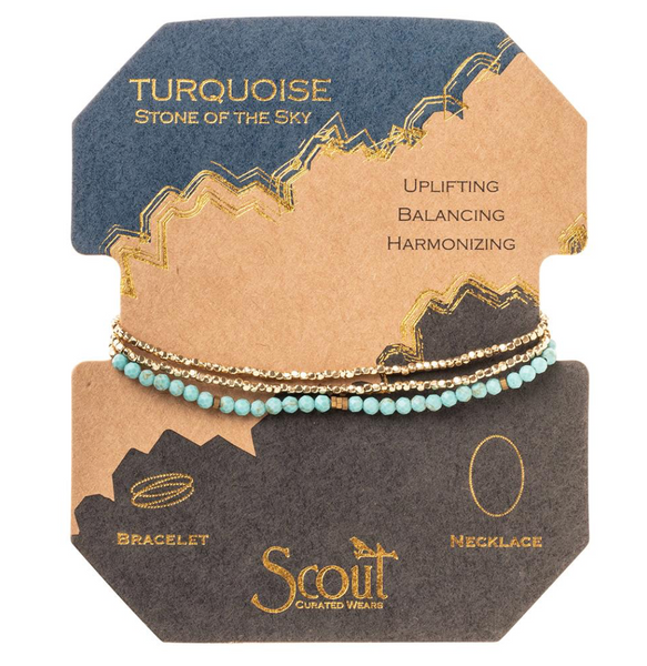 Delicate Stone Bracelet/Necklace - Turquoise/Gold - Stone of The Sky