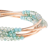 Shimmer Wrap Bracelet/Necklace - Neptune/Rose Gold