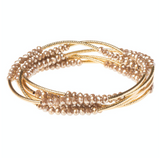 Shimmer Wrap Bracelet/Necklace - Oyster/Gold